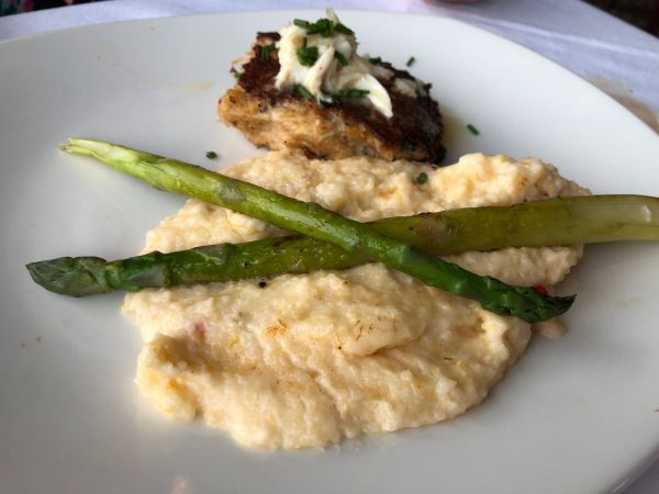 Blue Crab Cake with Pimento Cheese Grits from Landry's