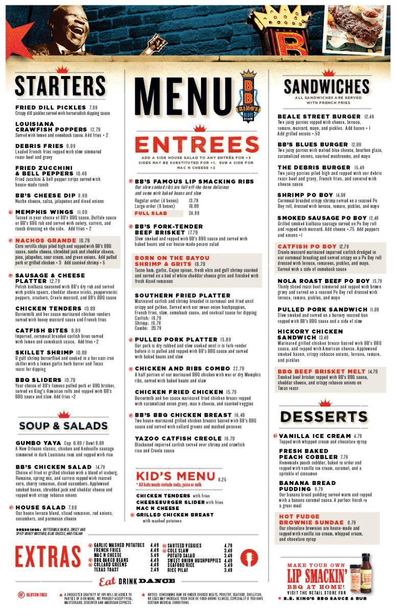 B.B. Kings Menu