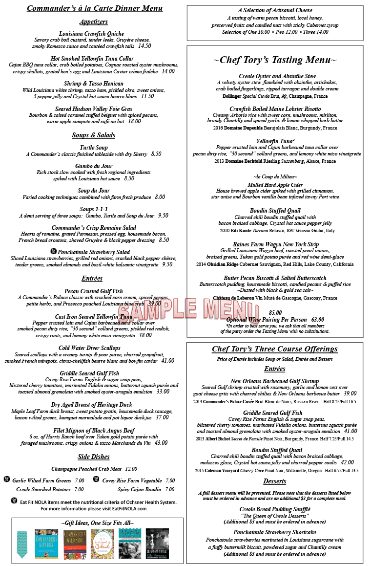 Commander's Palace Online Menu