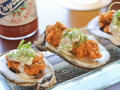BBQ Oysters & Blue Cheese Dipping Sauce