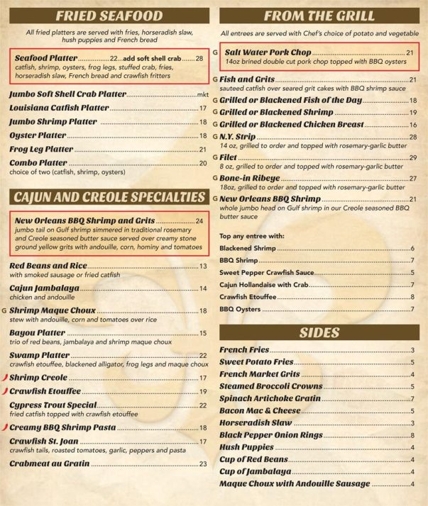 French Market Restaurant  Bar  Menu  NeworleansrestaurantsCom